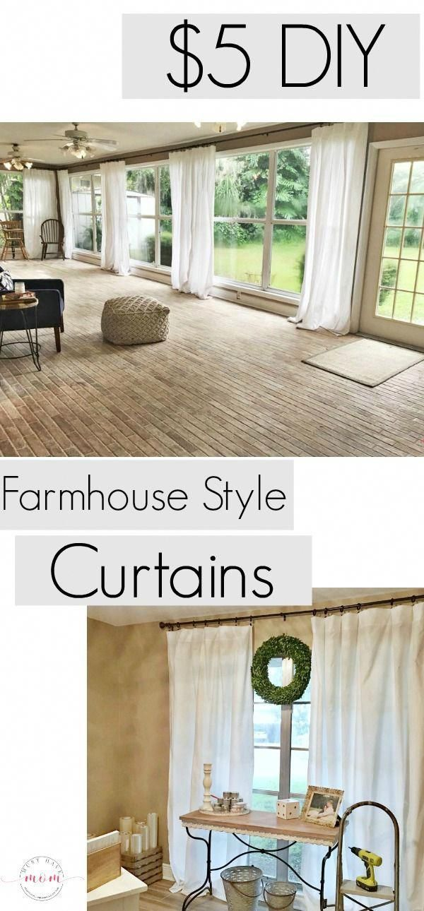 Cheap farmhouse style curtains only $ 5 & no sewing! - DIY curtains for the farmhouse living room now only sew $ 5 to each ...#cheap #curtains #diy #farmhouse #living #room #sew #sewing #style