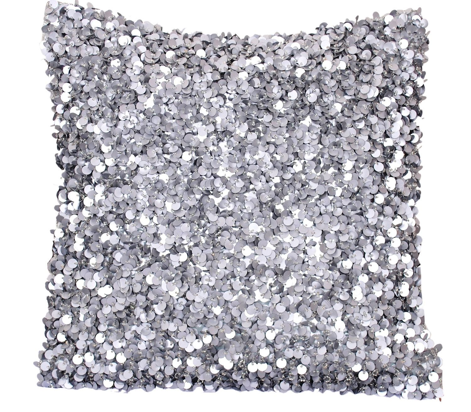Silver Pillow Cover, One 16 x 16 Decorative Throw Pillow, Silver Grey, Sequins, Beads, Glitter ...
