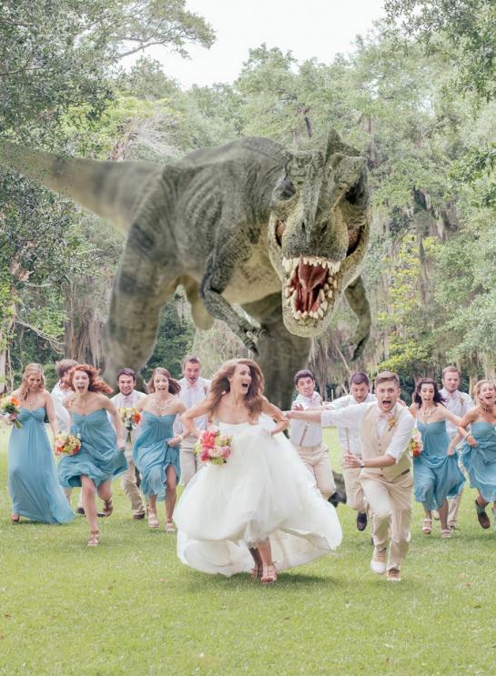 Un T-Rex sème la panique lors d'un mariage. Originale comme idée :)