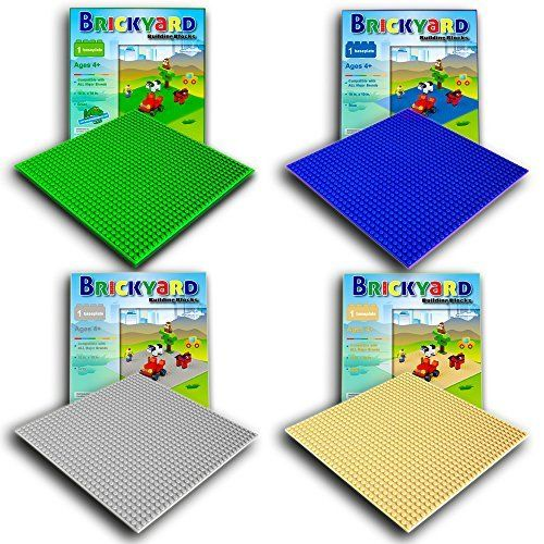 Wonderful Kids Building Bricks Base Plates for Play Table or Displaying 4 Pack 10 x 10 Blue Building Brick BasePlates Compatible with All Major Brands