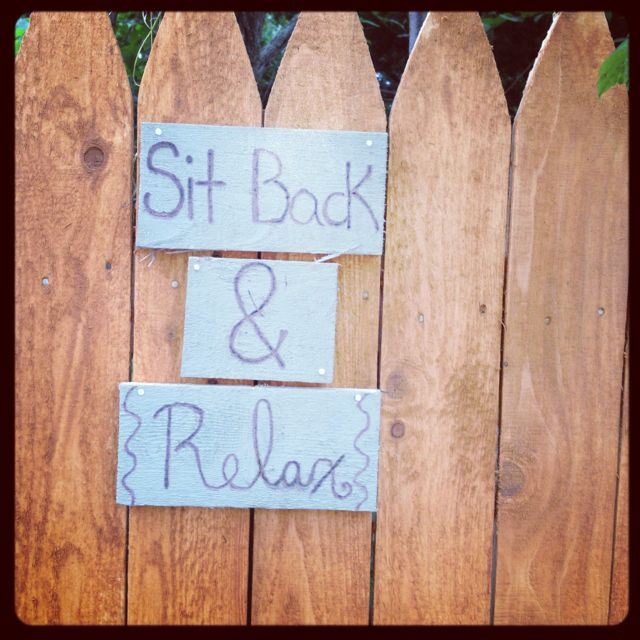 Cute sign for the backyard : get wood, paint or stain and wood burning pen!