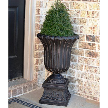 cast stone urn on pedestal in aged charcoalplanter x 26-1//2 in 16-1//4 in
