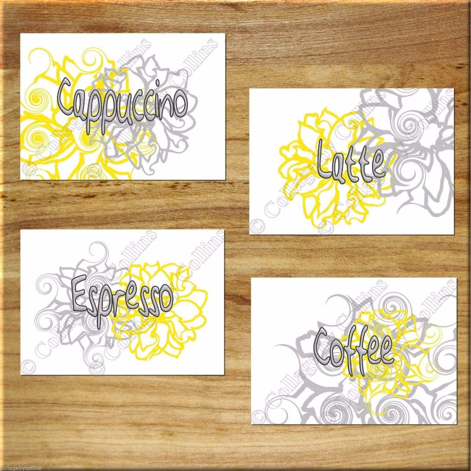 YELLOW+GRAY+Wall+Words+Art+Kitchen+Cafe+Flower+Floral+Prints+Decor+ ...