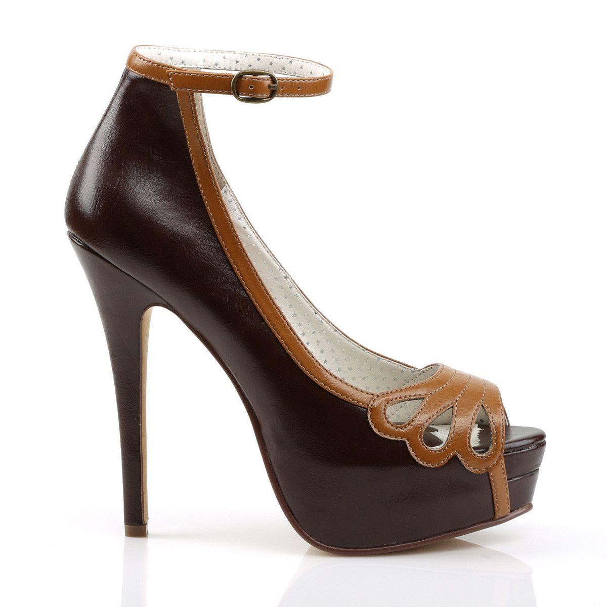 0dec5fddad7c Pin Up Couture BELLA-31 Dark Brown Peep Toe Pump in 2019
