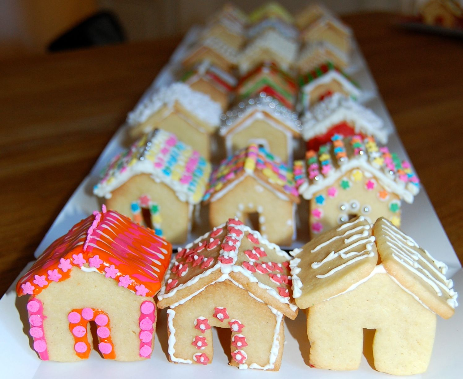 Miniature Gingerbread Style Sugar Cookie Houses And Christmas