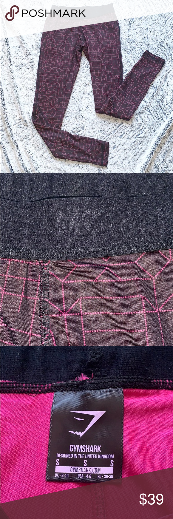 Gym Shark Dark Purple Legging Pink Design Gym Shark Size Small Dark Purple with ..., #Dark #Design #...