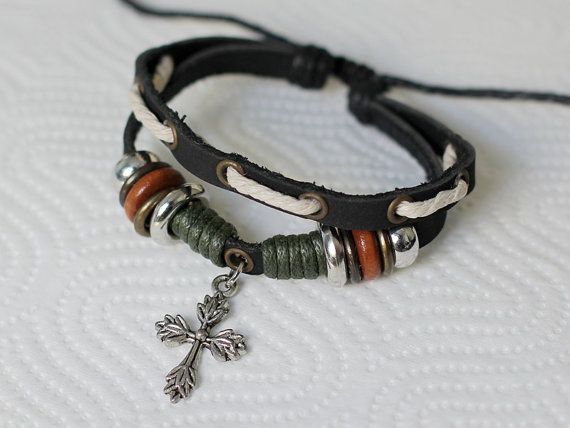 050 Men Bracelet Women Cross Charm Religion Leather Fashion