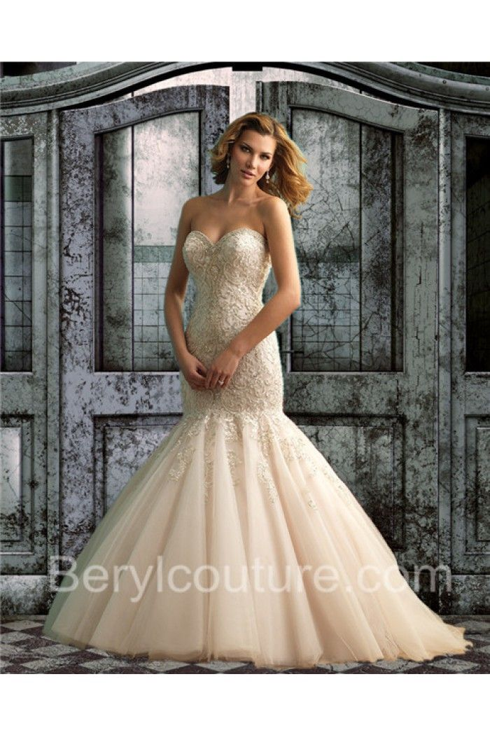 Y Trumpet Mermaid Sweetheart Low Back Champagne Tulle Lace Wedding Dress Dresses For
