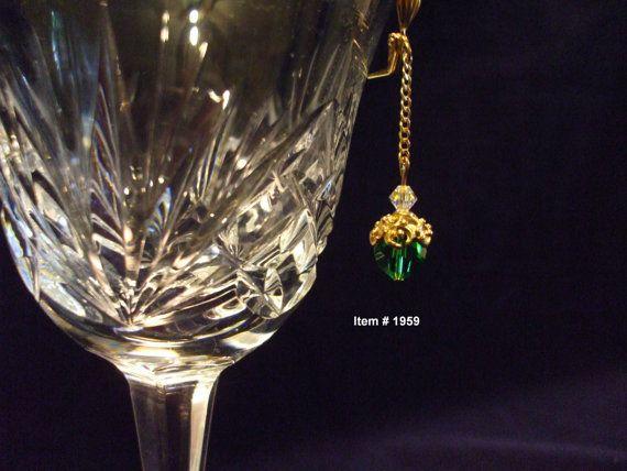 emerald-green round Swarovski crystal, gold-plated chain and clear AB Swarovski crystal