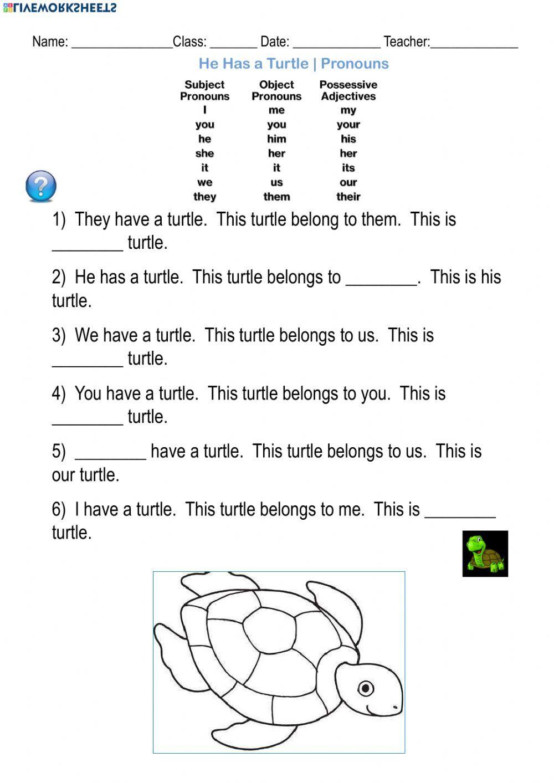 He Has A Turtle Pronouns Interactive Worksheet Pronoun Worksheets Parts Of Speech Worksheets 2nd Grade Worksheets [ 1413 x 1000 Pixel ]