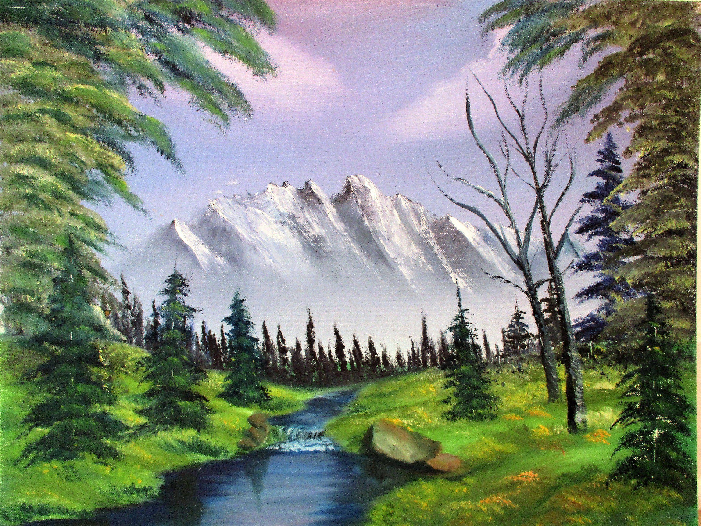 Vintage Oil Painting Large Original Signed Snow Mountains Landscape Sky Water Trees River Stream Ro Landscape Pictures Vintage Oil Painting Mountain Landscape