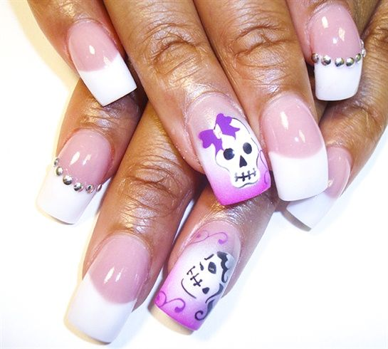 pink n white n skulls by Pilar - Nail Art Gallery nailartgallery.nailsmag.com by Nails Magazine www.nailsmag.com #nailart