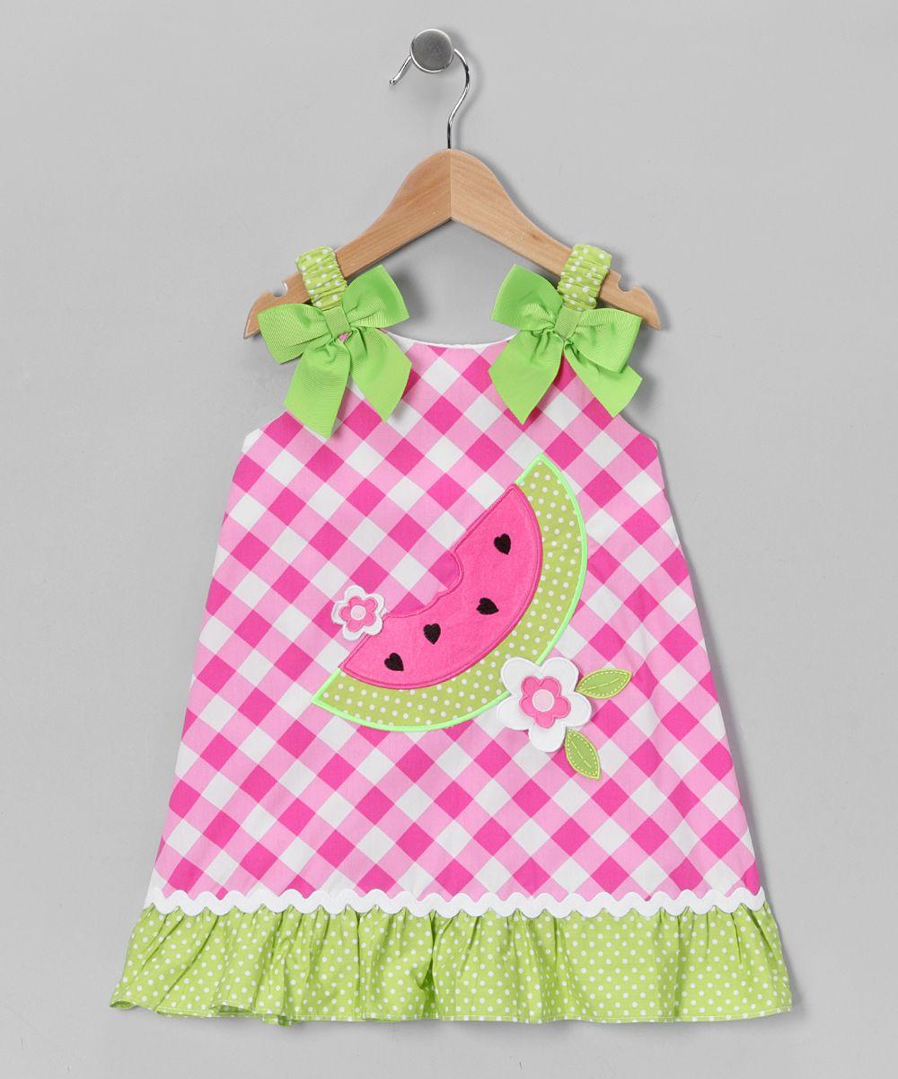 Pink Green Gingham Watermelon Dress Infant Toddler Girls