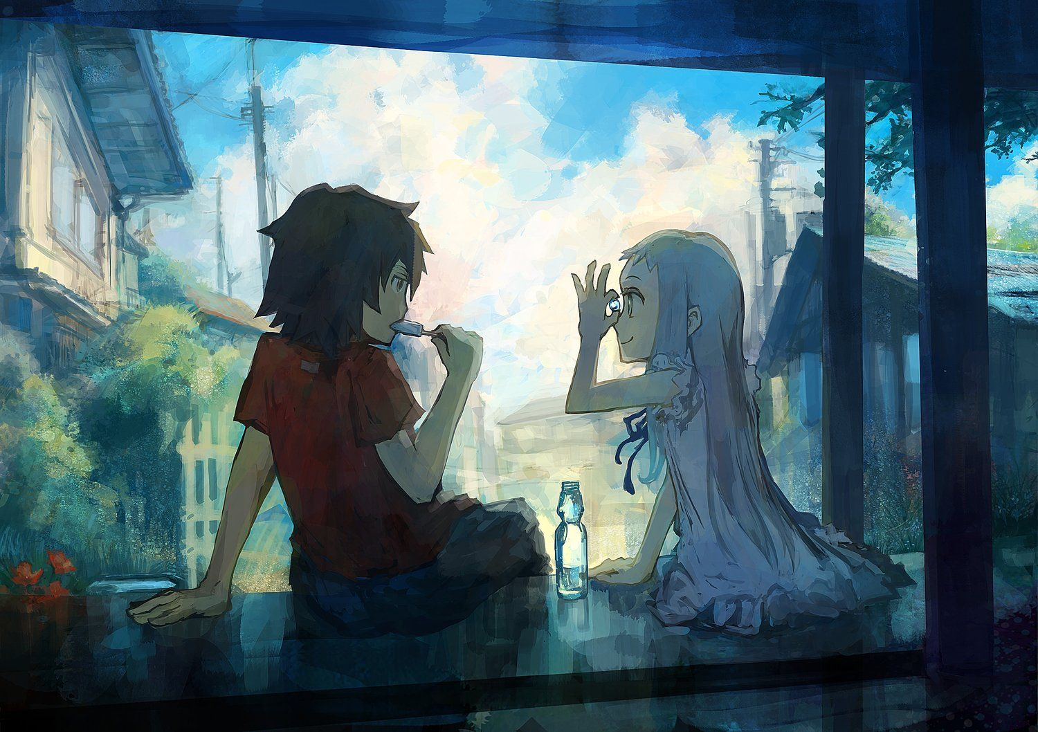 A picture of the characters Meiko and Jinta from the anime Anohana.