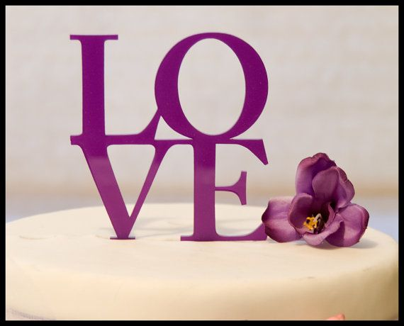 Wedding Cake Topper LOVE in purple by oklahomastencil on Etsy, $10.95