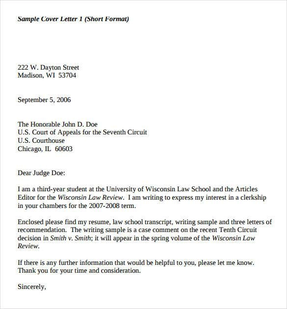 Clerkship Cover Letter Sample