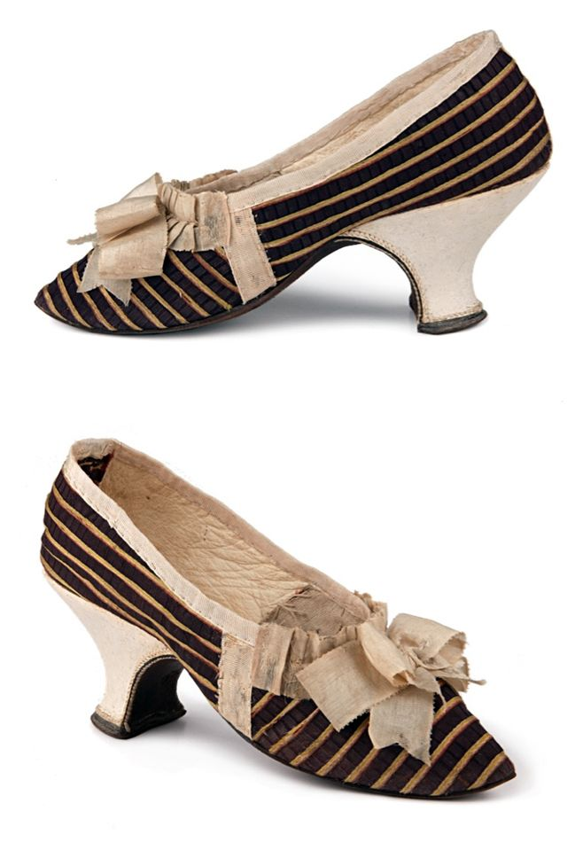 Ladies dark lilac silk shoes with red and yellow stripes, France, c.1750s. Vamp is decorated with ecru silk bow. Edge piping is of the same silk, pleated at the vamp throat. Lining of the vamp - linen, quarters are lined with cream kid leather.  Shoe Icons. http://eng.shoe-icons.com/collection/object.htm?id=1480