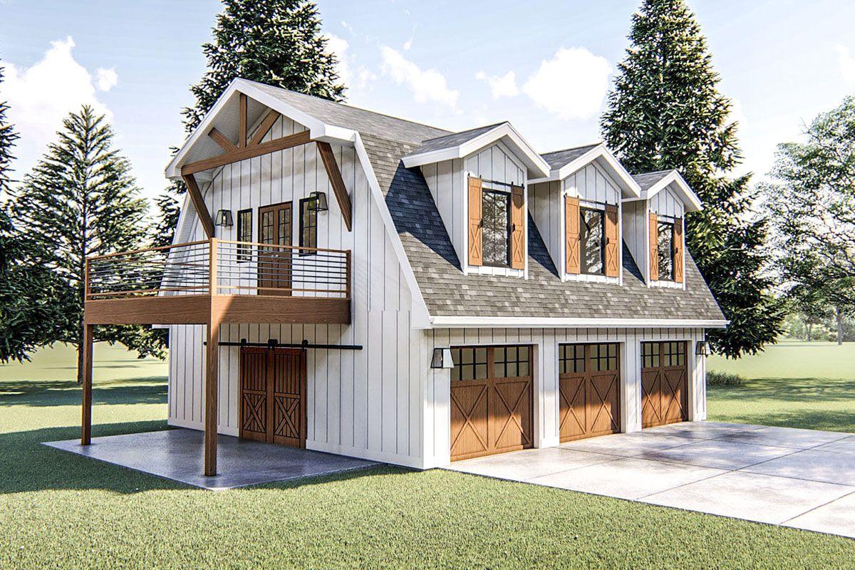 Plan 62766dj Modern Barn Like Garage Apartment In 2021 Carriage House Plans Barn Style House Garage Apartment Floor Plans
