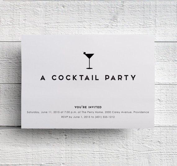 Cocktail party invitations, bachelorette party invitations, bar menu - invitation for cocktail party