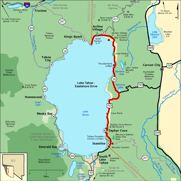 Lake Tahoe Eastshore Drive Map America's Byways Travel: Map Of America Nevada At Usa Maps