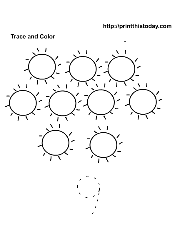 Trace and color number 9 Free Printable Worksheets Pinterest