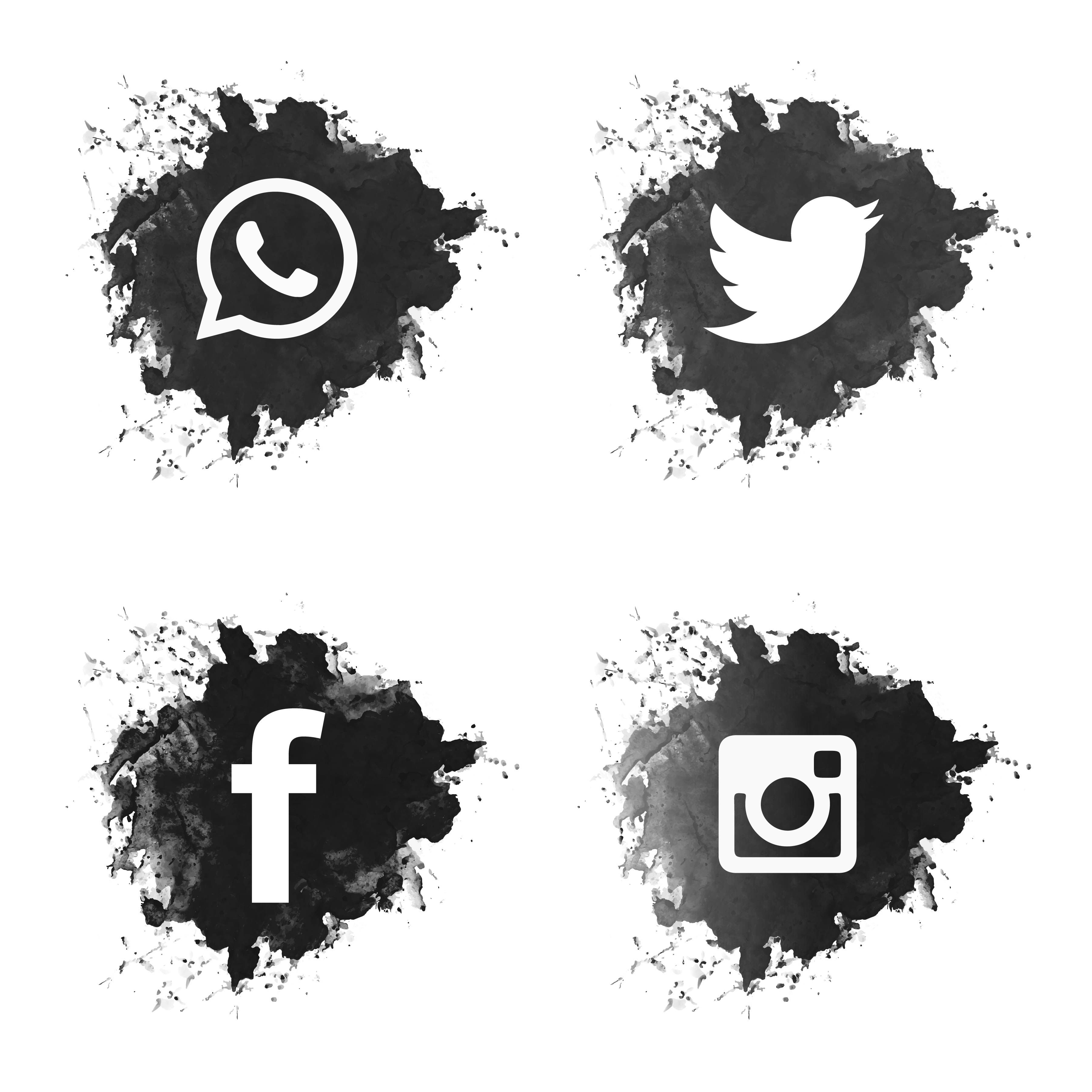 Social media black grunge icons set imagens) Icones