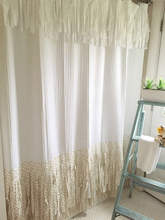 This Bohemian Style Shower Curtain Is Hand Made With A Fun Gold