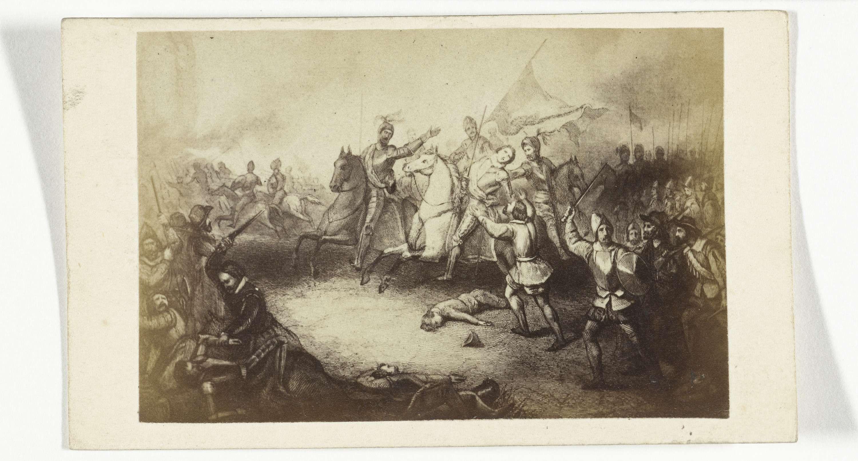 Anonymous | Fotoreproductie van een gravure: De Slag bij Heiligerlee, mei 1568, Anonymous, c. 1870 - c. 1880 |