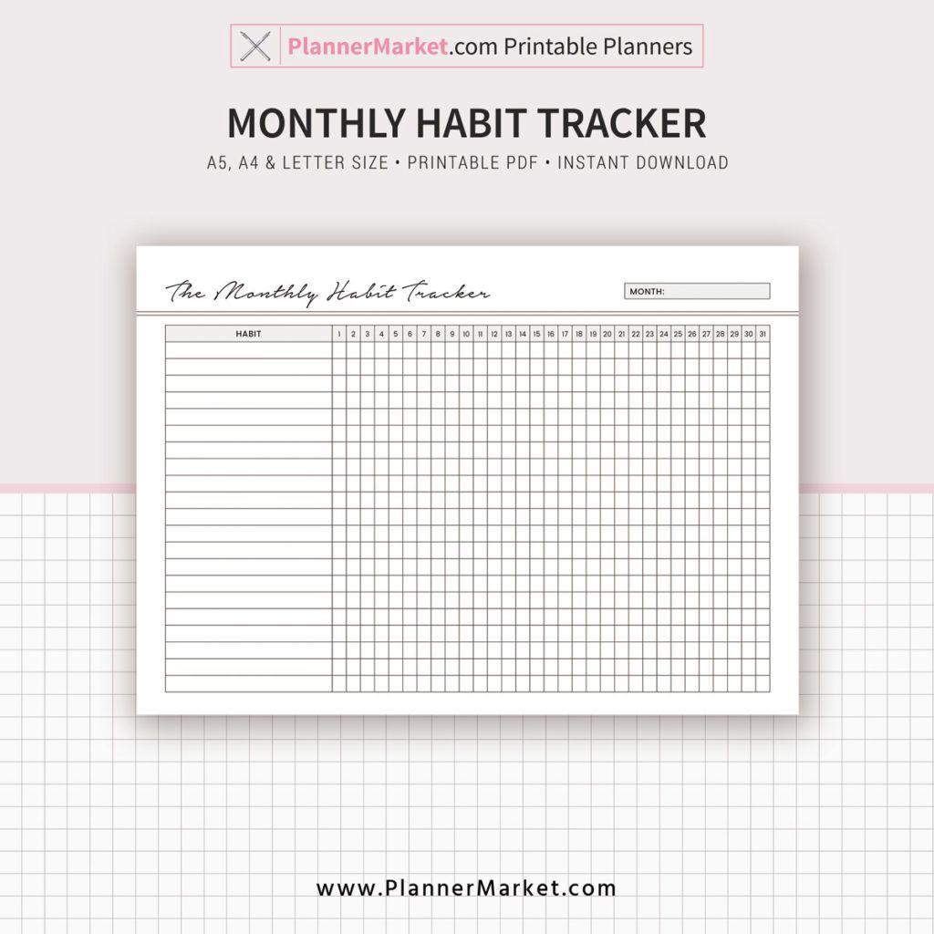 Habit Tracker, Monthly Habit Tracker, 2019 Planner, A5, A4 ...