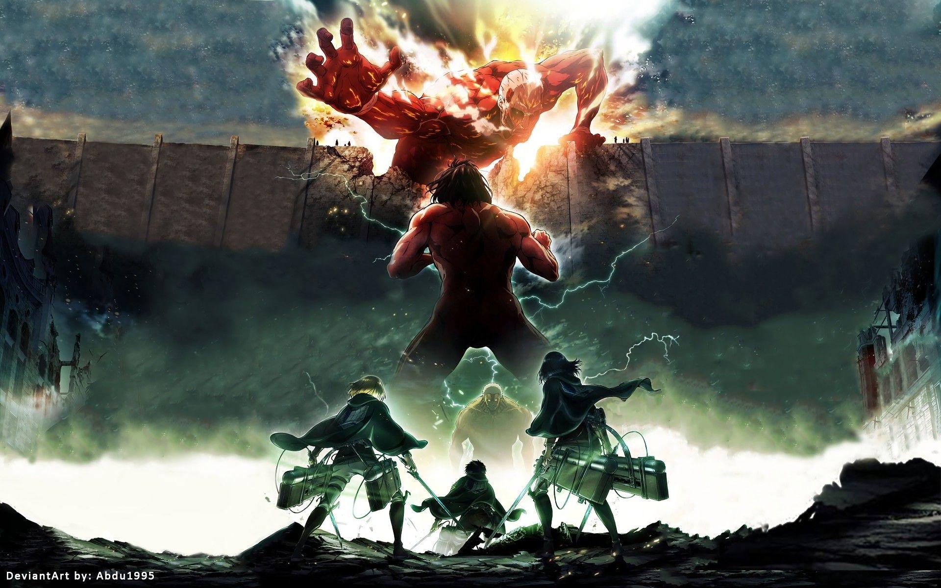 Res 1920x1200 Anime Attack On Titan Mikasa Ackerman Eren Yeager Armin Arlert Shingeki No Kyojin Wallpap Titans Anime Attack On Titan Anime Attack On Titan