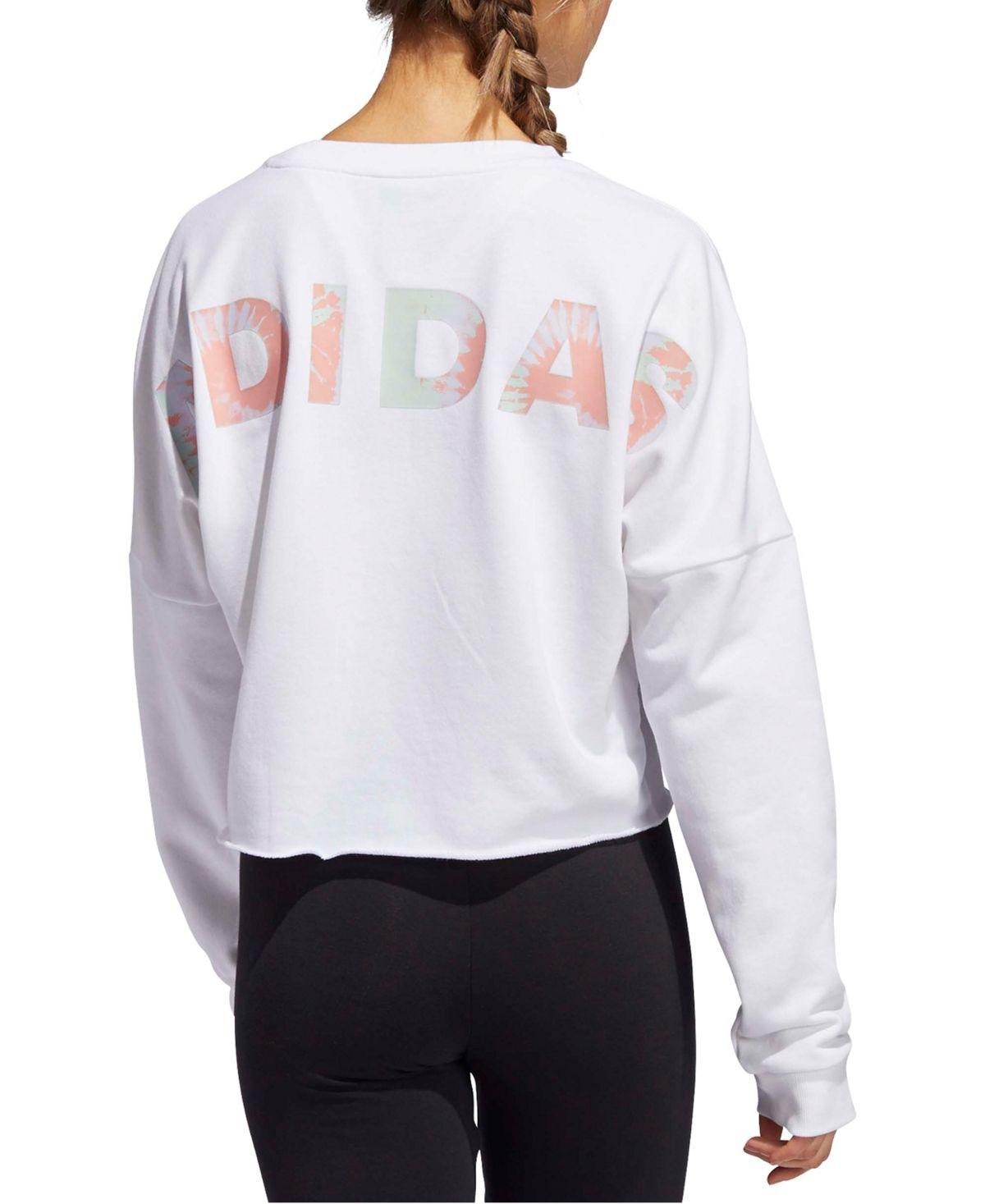 Adidas Women S Tie Dye Logo T Shirt White Sweatshirts Graphic Crewneck Sweatshirt Adidas Women [ 1467 x 1200 Pixel ]