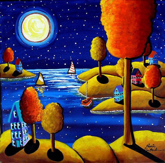 Fall Night Full Moon Sailboats Trees Full  Whimsical Original Folk Art Painting via Etsy