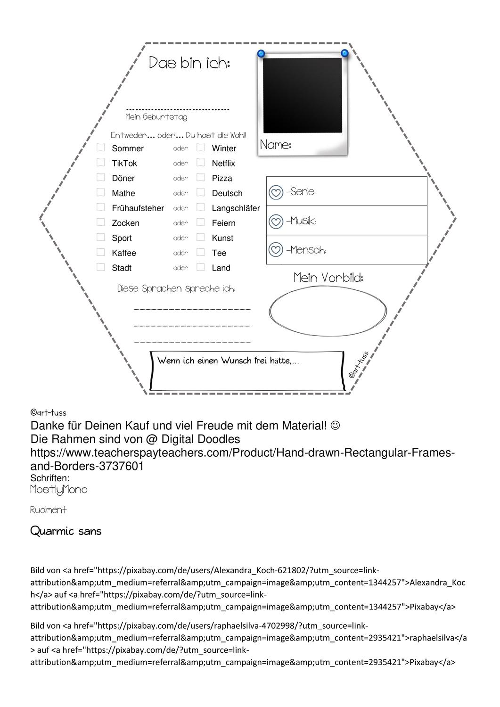 02 Lmp Steckbrief Sechseck Unterrichtsmaterial Im Fach Fachubergreifendes Neues Schuljahr Steckbrief Unterrichtsmaterial