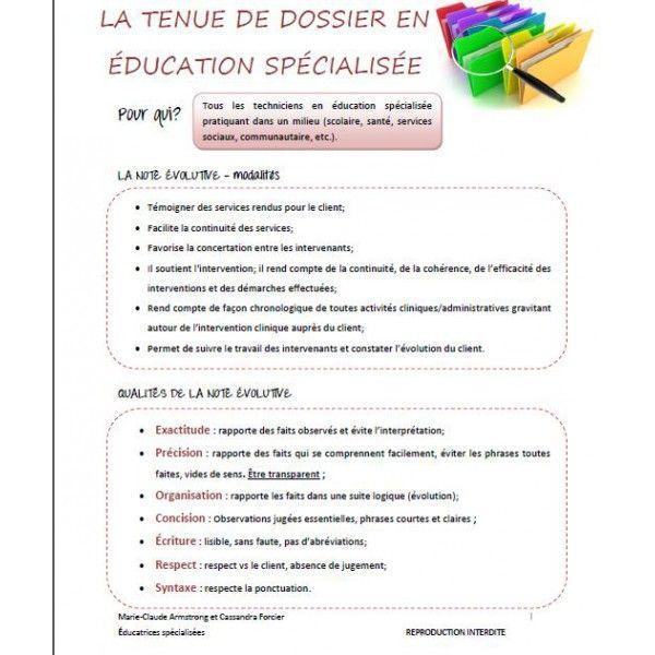 La Tenue De Dossier En Education Specialisee Education Specialisee Education Dossier