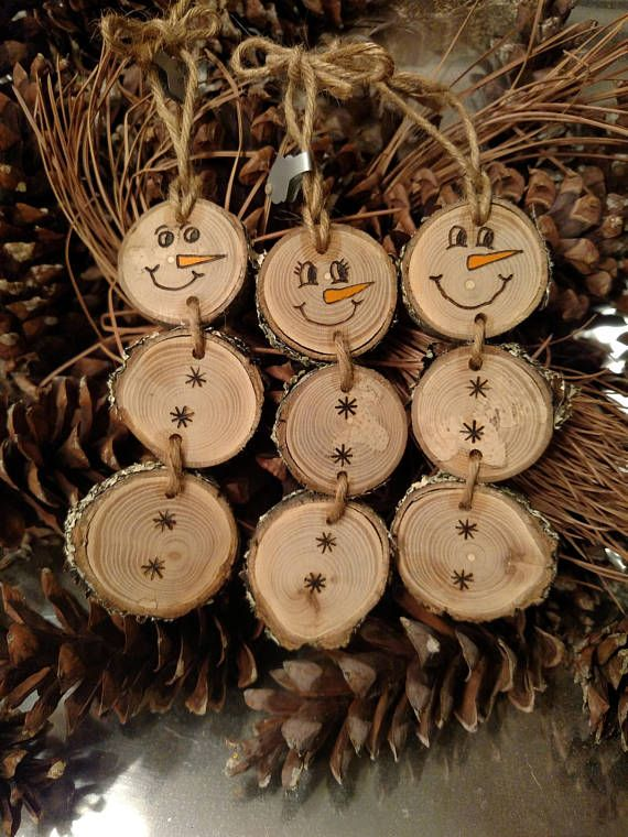Wood Burned Snowman Christmas Ornaments -- Stacked Snowman Ornaments/Gift Tags