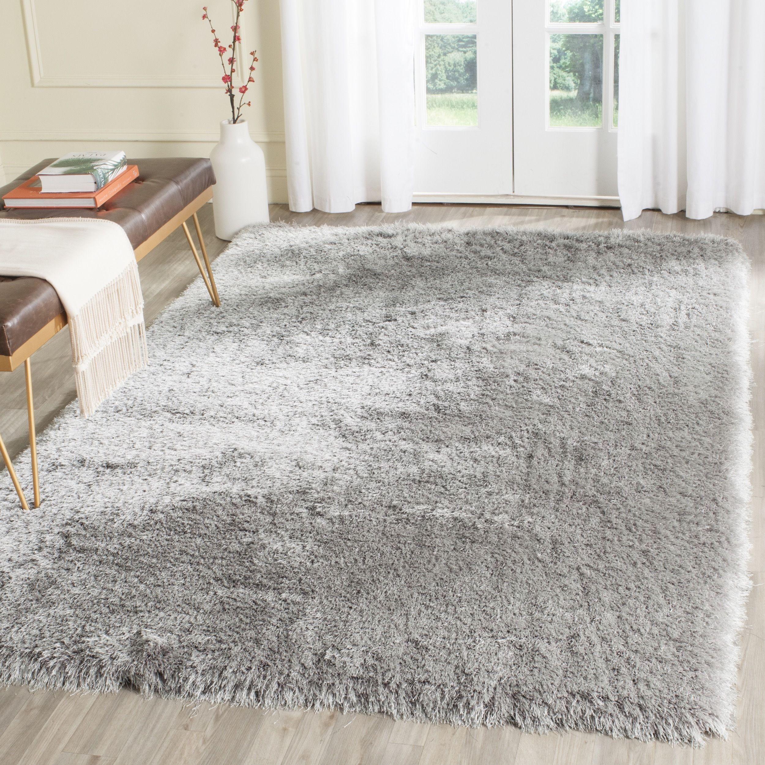 Memory Foam Rugs For Living Room Safavieh Handmade Plush Memory Foam Shag Silver Polyester Rug 3