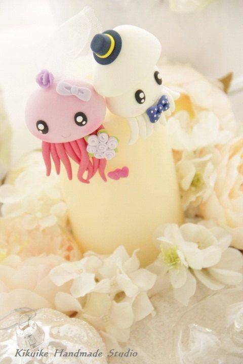 jellyfish ,cuttlefish and squid wedding cake topper | Ocean Animal ...