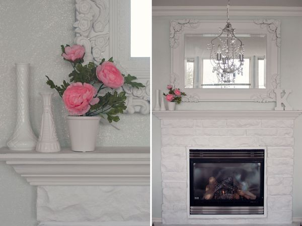 diy glitter wall u0026 painted stone fireplace