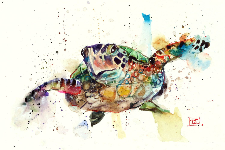 SEA TURTLE Watercolor Print by Dean Crouser
