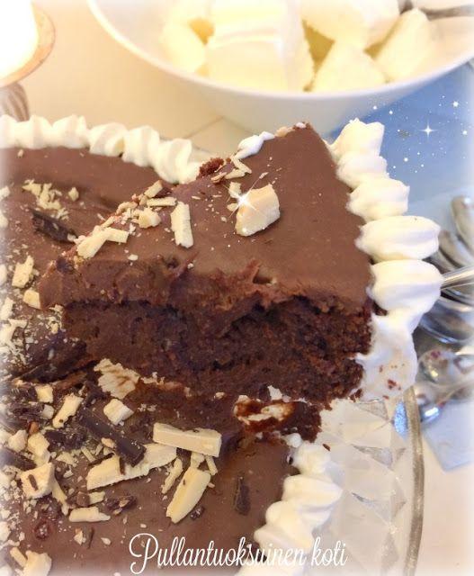 Pullantuoksuinen koti: Maitosuklaalla kuorrutettu Mutakakku -*taivaallist... Heavenly mud cake covered with milkchocolate