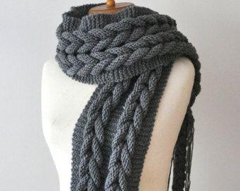 Bufanda Trenzas Chunky Knit Scarves Knit Scarf Huge Scarves