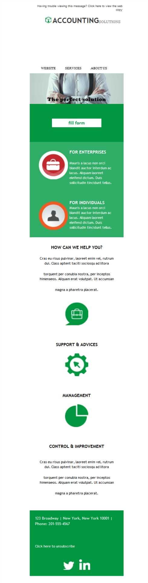 Una plantilla newsletter para servicios empresariales de ...