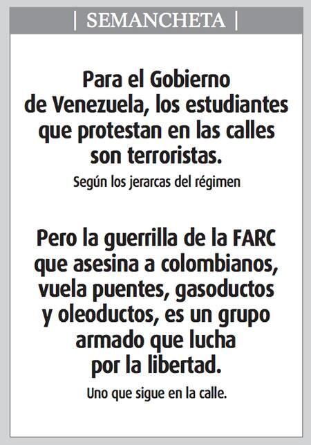 SEMANCHETA: Para el Gobierno de Venezuela, los estudiantes que protestan en las calles son terroristas… #SOSVenezuela pic.twitter.com/SVCBInVau2