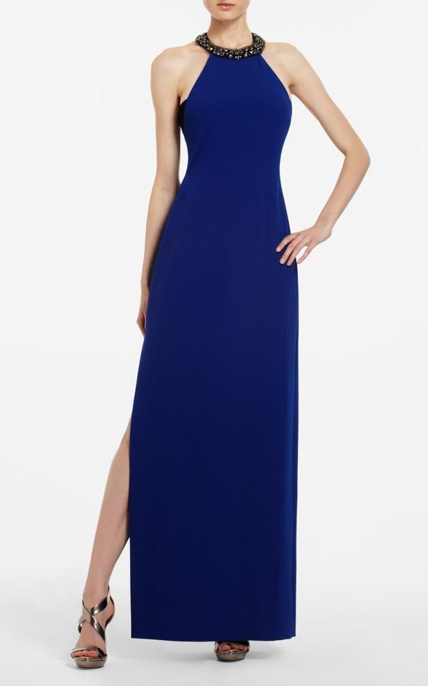 BCBG Viviane Beaded Blue Halter Evening Gown Sale | Dressescharm ...