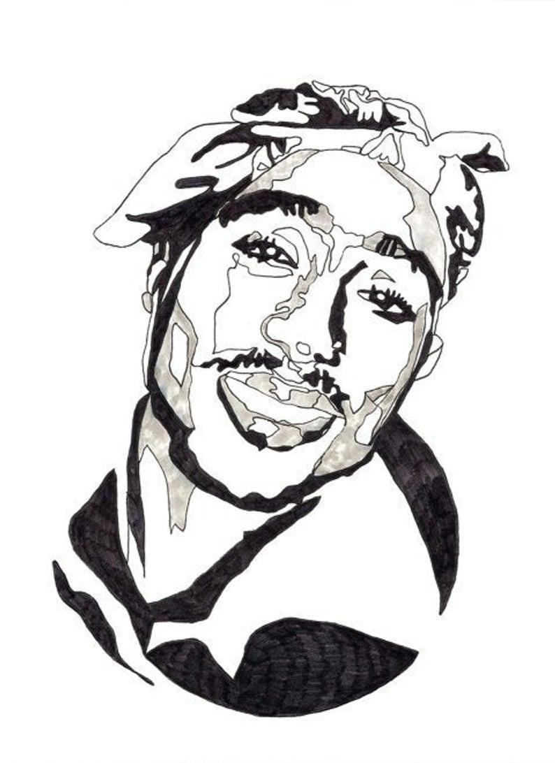 Black White 2pac Poster Tupac Print Original Art Downloadable Print Printable Art Line Art Bedroom Decor Rapper Art Lover Gift Tupac Art 2pac Poster Rapper Art [ 1092 x 794 Pixel ]