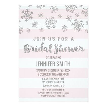 winter bridal shower pink stripes silver snowflake invitation