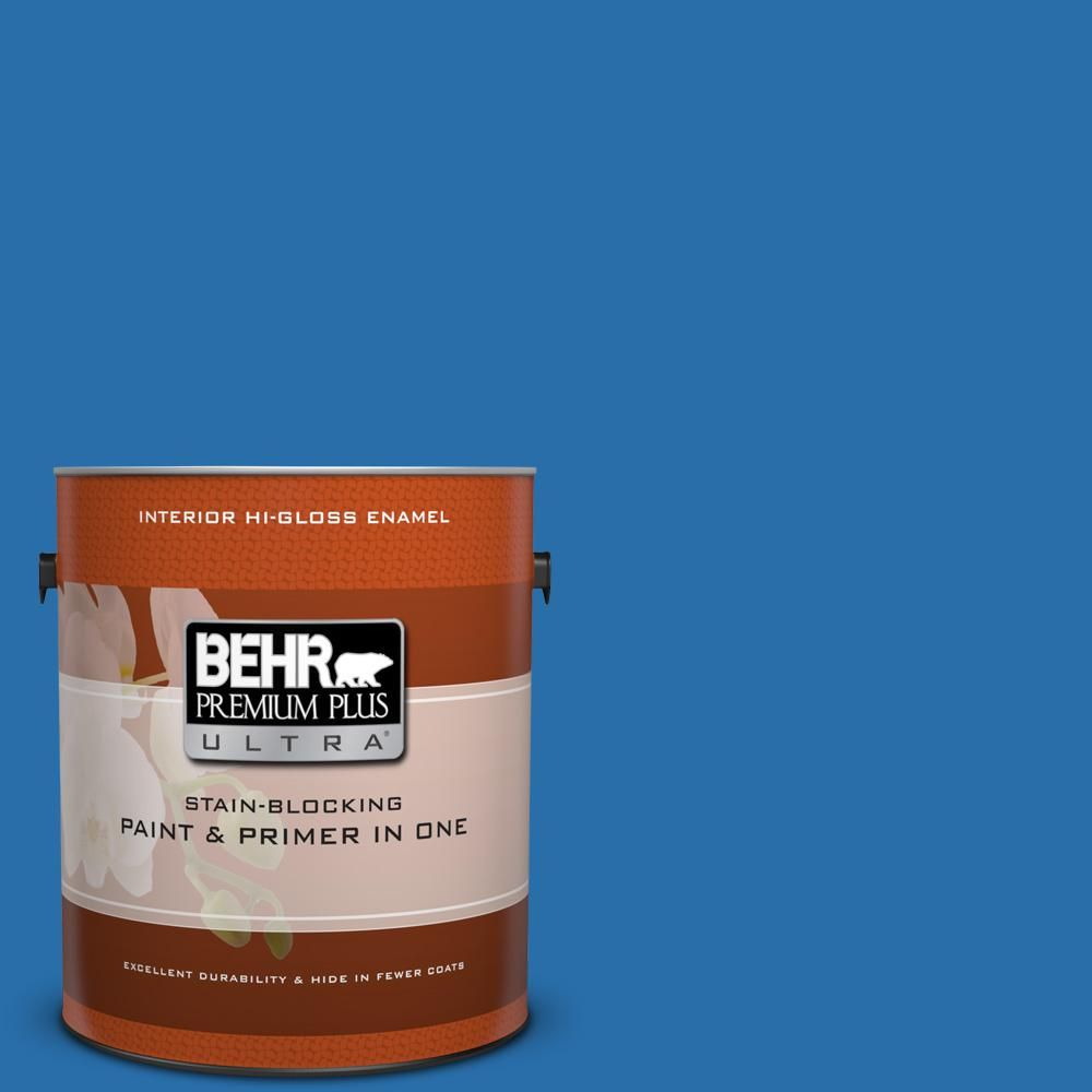 BEHR Premium Plus Ultra 1 gal. #560B-7 Cerulean High-Gloss Enamel Interior Paint