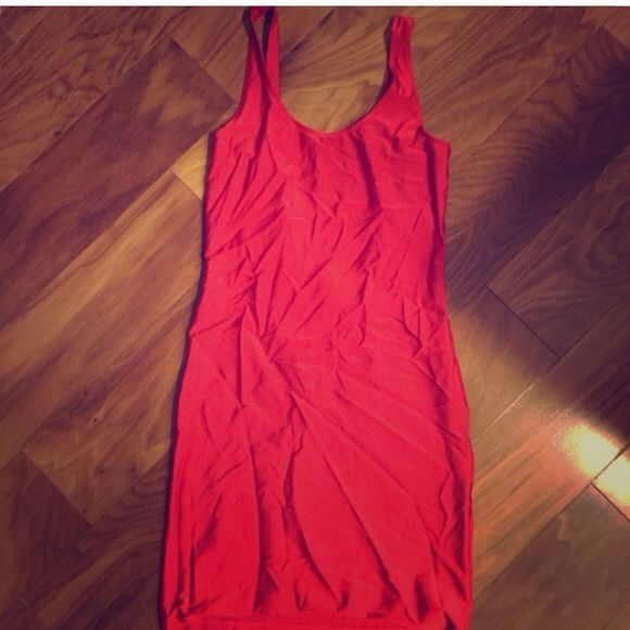 Bodycon type dress Red bodycon style dress bought for a costume never worn. Forever 21 Dresses Mini