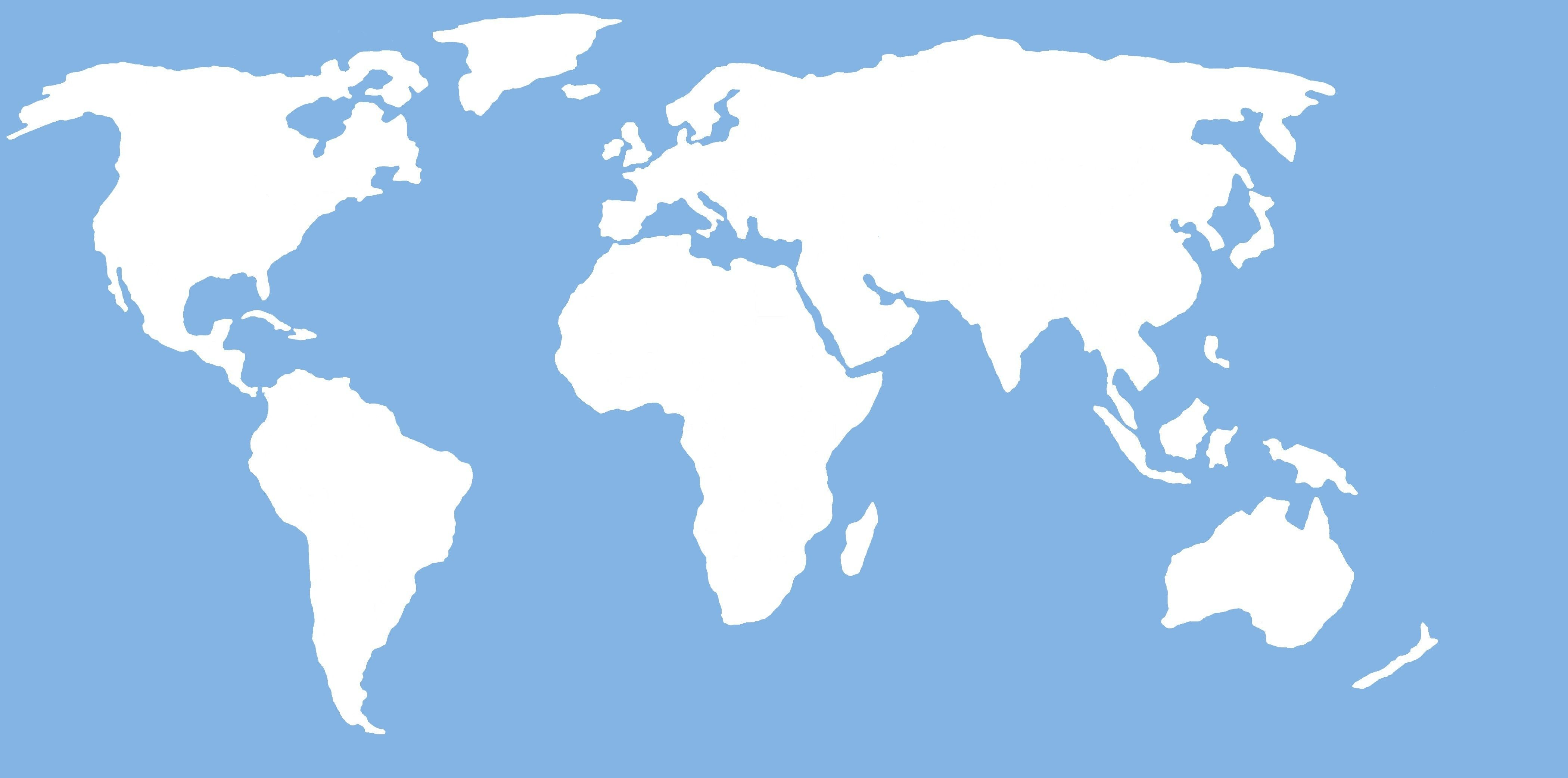 Flat World Map Continents Refrence Simple World Map Flat