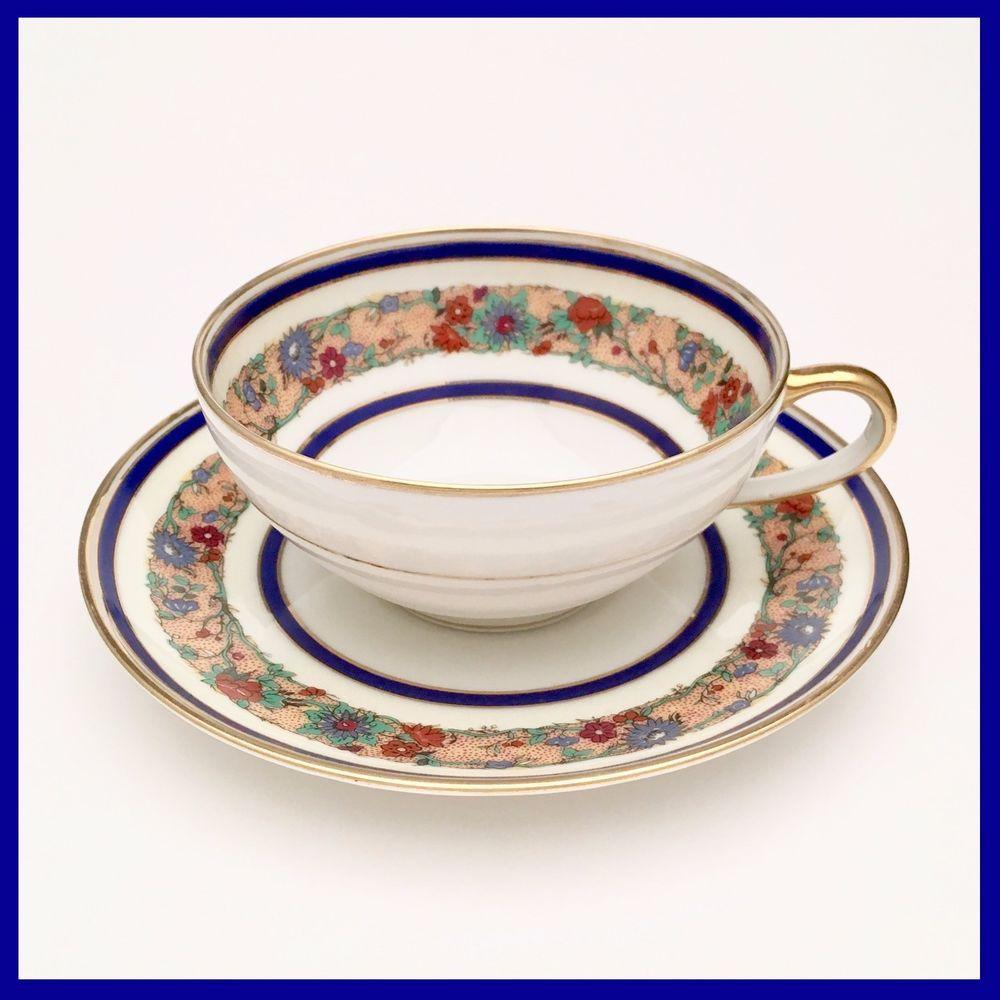 Charles Ahrenfeldt Limoges Tea Cup Saucer White W Cobalt Blue  ~ Tazas Para Infusiones El Corte Ingles
